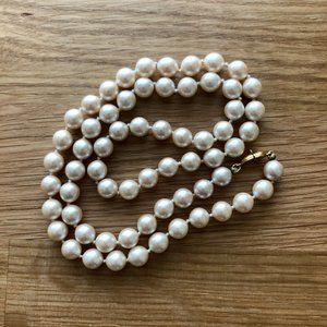 """Nice heavy pearl necklace 23"""""""